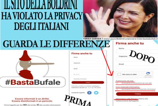 La Boldrini ha violato la privacy degli italiani