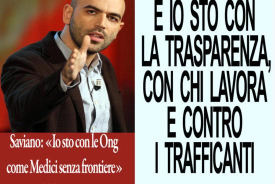 Saviano:«Io sto con le ONG». Noi con la trasparenza e contro i trafficanti di esseri umani